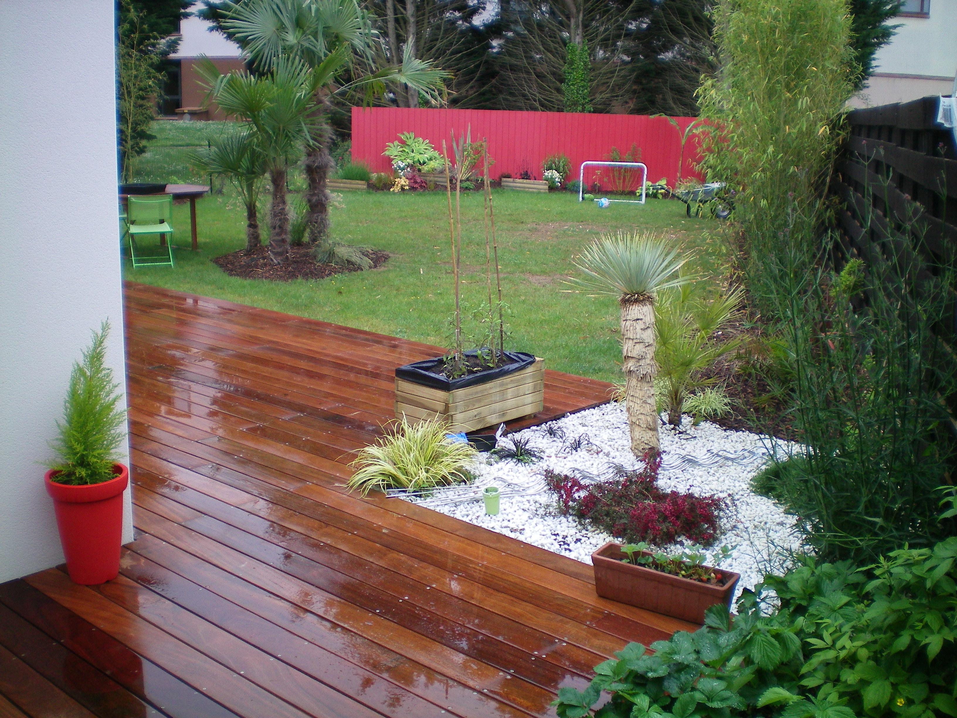 Création d'une terrasse bois exotique en Cumaru (coin repas, espace